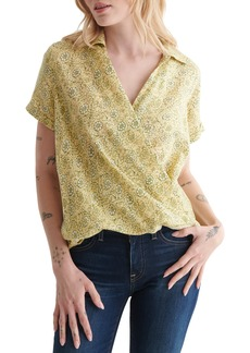 Lucky Brand Floral Short Sleeve Wrap Front Top