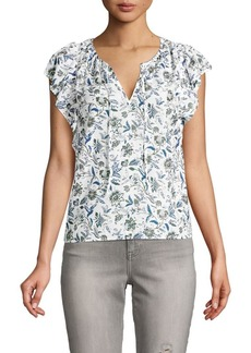 Lucky Brand Floral Split Neck Top