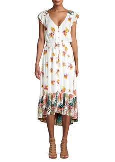 Lucky Brand Floral V-Neck Dress