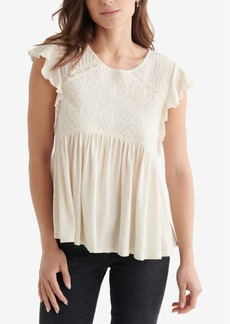 Lucky Brand Flutter Sleeve Embroidered Top