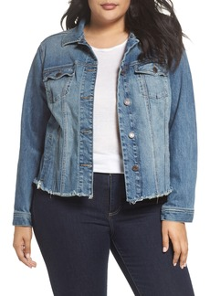 Lucky Brand Frayed Hem Denim Jacket (Plus Size)