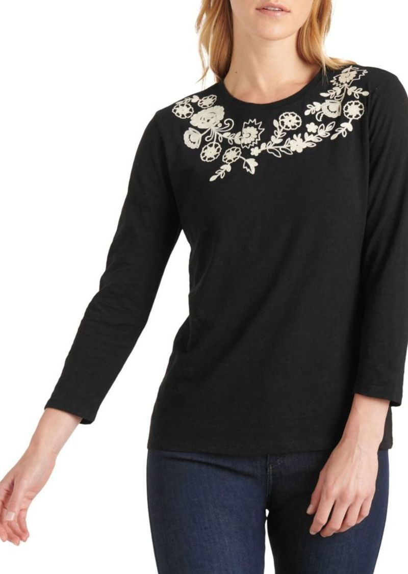 Lucky Brand Garland Embroidered Cotton Top