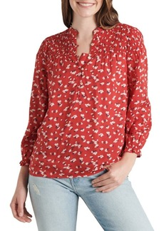 Lucky Brand Gemma Smocked Floral Blouse