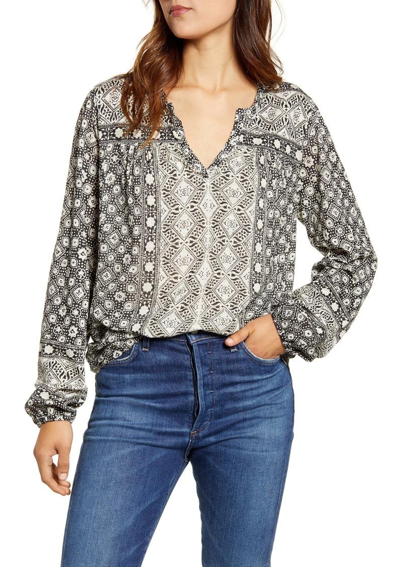 Lucky Brand Geo Print Blouson Sleeve Jersey Top