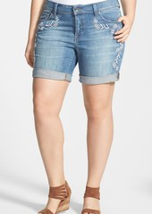 Lucky Brand 'Georgia - Henna' Embroidered Denim Shorts (Plus Size)