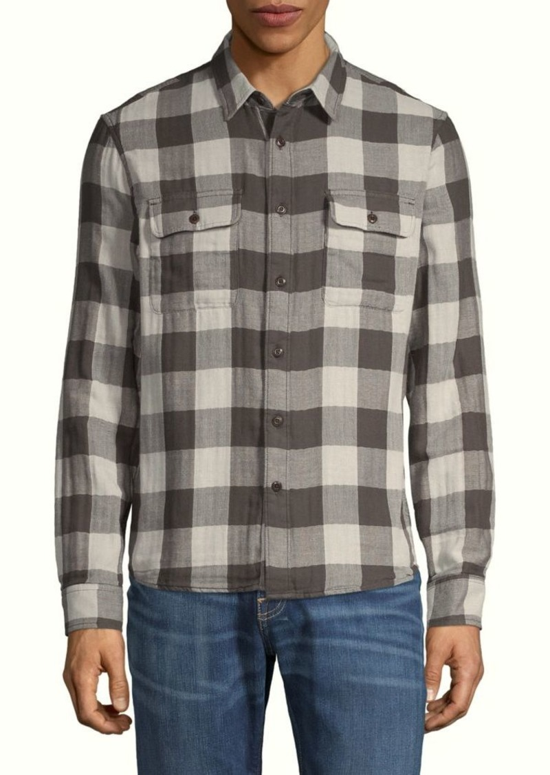 Lucky Brand Gingham-Print Flannel Long-Sleeve Shirt