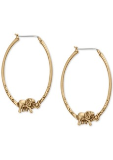 "Lucky Brand Gold-Tone Elephant Medium Hoop Earrings, 1-7/8"""