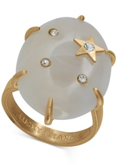 Lucky Brand Gold-Tone Pave Star Stone Ring