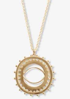 "Lucky Brand Gold-Tone Sunburst Long Pendant Necklace, 33-1/2"" + 2"" extender"