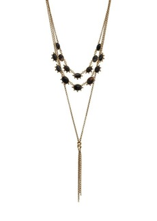 Lucky Brand Goldtone and Black Agate Tassel Layered Necklace