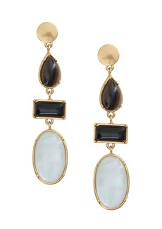 Lucky Brand Goldtone, Black Agate and White Mother of Pearl Drop Earrings