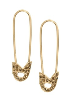 Lucky Brand Goldtone Pave Safety Pin Earrings