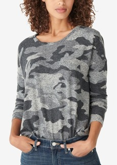 Lucky Brand Hacci-Knit Camo-Print Top