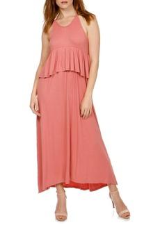 Lucky Brand Halterneck Ruffle Maxi Dress