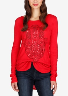 Lucky Brand Hamsa High-Low Graphic Top