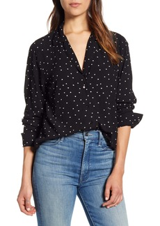 Lucky Brand Heart Dot Print Oversize Button Front Shirt