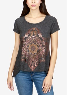 Lucky Brand High-Low Metallic-Graphic T-Shirt