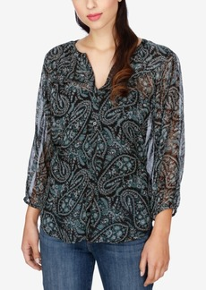 Lucky Brand High-Low Paisley-Print Blouse