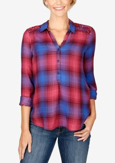 Lucky Brand High-Low Plaid Blouse
