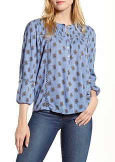 Lucky Brand Inset Lace Floral Print Shirt