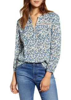 Lucky Brand Inset Lace Popover Top