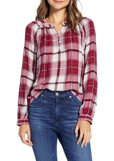 Lucky Brand Jessica Plaid Popover Blouse