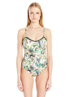 Lucky Brand Junior's Coastal Palms One Piece Swimsuit  L