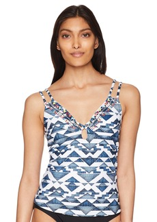 Lucky Brand Junior's Double Strap Tankini Swimsuit Top deep Indigo L