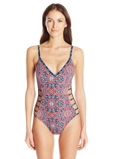 Lucky Brand Junior's Festival Medallion Side Detail One Piece Swimsuit  L