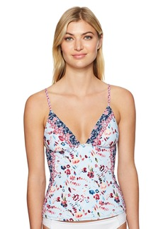 Lucky Brand Junior's Gypsy Floral Over-The-Shoulder Tankini Top