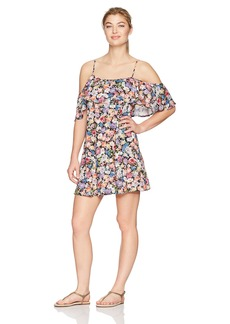 Lucky Brand Junior's Late Bloomer Cold Shoulder Ruffle Dress Cover up  L