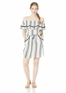 Lucky Brand Junior's Off Shoulder Ruffle Front Tie Swimwear Cover Up Dress