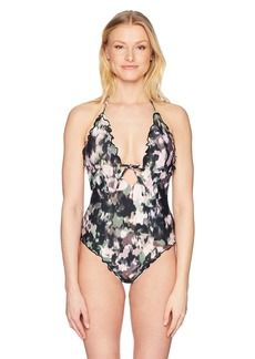 Lucky Brand Junior's Smokescreen Ruffle Plunge Monokini One Piece Swimsuit  S
