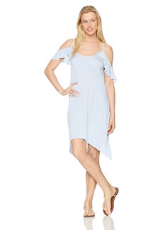 Lucky Brand Junior's Solid Attitude Cold Shoulder Dress Cover up  L