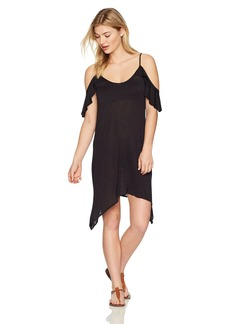 Lucky Brand Junior's Solid Attitude Cold Shoulder Dress Cover up  M