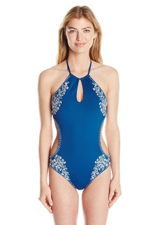 Lucky Brand Junior's Stitch in Time High Neck Monokini One Piece Swimsuit Indigo M