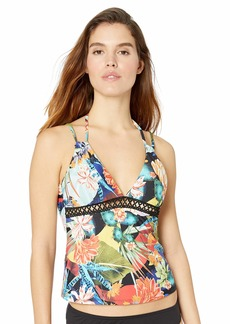 Lucky Brand Junior's V-Neck Halter Tankini Swimsuit Top