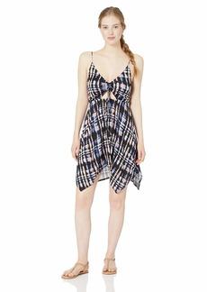Lucky Brand Women's V-Neck Handkerchief Hem Swimwear Cover Up Dress