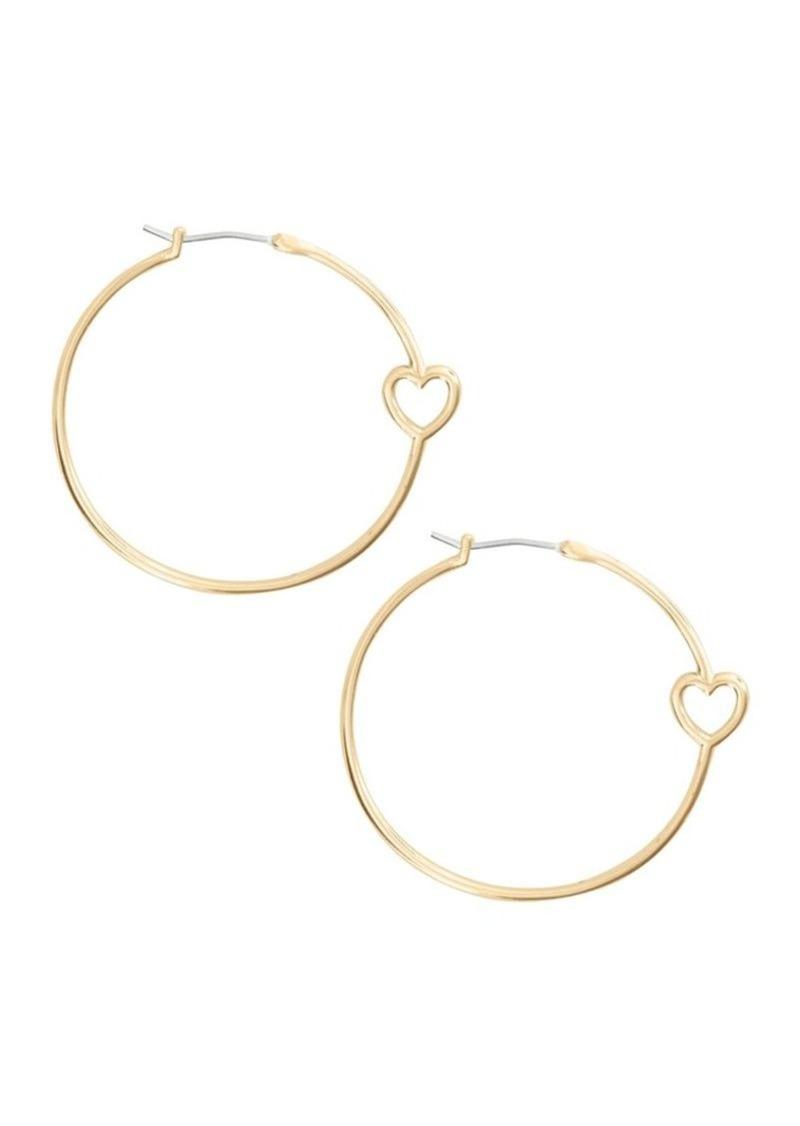 Lucky Brand Key Item Goldtone Heart Hoop Earrings