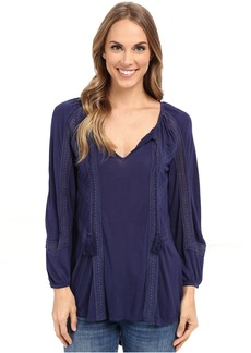 Lucky Brand Lace Mixed Peasant Top