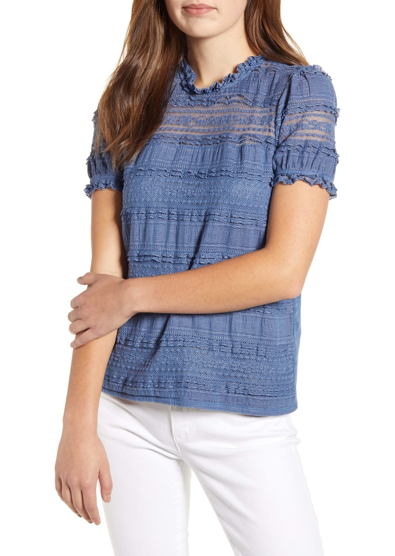 Lucky Brand Lace Puff Sleeve Top