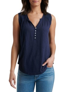 Lucky Brand Lace-Trim Cotton Blend Top