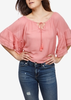 Lucky Brand Lace-Trim Peasant Top