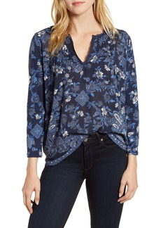 Lucky Brand Lace Trim Split Neck Top