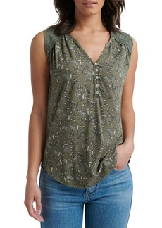 Lucky Brand Lace-Trimmed Cotton Blend Top