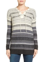 Lucky Brand Lace-Up Stripe Sweater