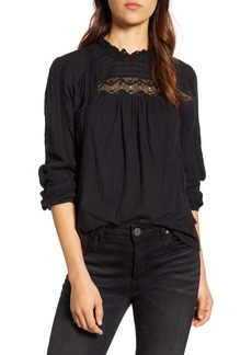 Lucky Brand Lace Yoke Cotton Peasant Blouse