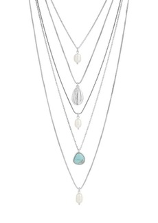 Lucky Brand Land and Sea Freshwater Pearl and Crystal Boho Layer Necklace