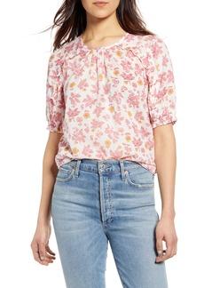 Lucky Brand Lauren Floral Ruffle Cotton Top