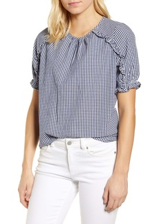 Lucky Brand Lauren Gingham Ruffle Cotton Top